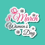 Happy Womens Day Words Blue