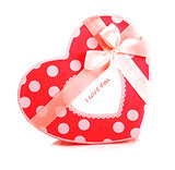 Red heart-shaped gift box