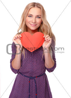 Beautiful woman with red heart