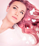 Beautiful romantic girl with pink hair style