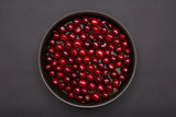 Top view of red cherries