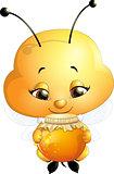 beautiful bee that eats honey