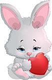 cute bunny holding a heart