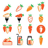 Carrot, carrot meals - cake, juice vector icons set