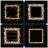 Set of Golden square frames on black background