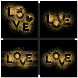 Set of Valentines day cards background with gold word Love.