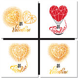 Valentines day gold greeting card