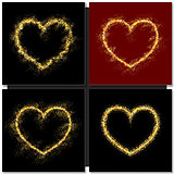 Set of Valentines day cards background with gold heart
