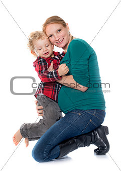 little boy and mother
