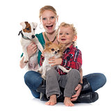 little boy, dogs and mother