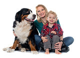 little boy, dog and mother