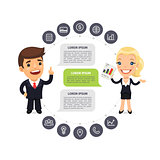 Speaking Businessmen Infographic with Icons
