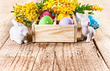Easter eggs branch mimosa and white rabbit on wooden board copyspace