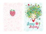 Birthday card design with holiday girl