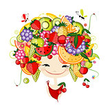 Girl with fruits on head fro your design
