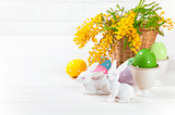 Easter eggs with rabbit and branch mimosa