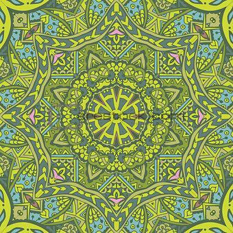 green spring geometric seamless tribal  pattern