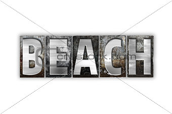 Beach Concept Isolated Metal Letterpress Type