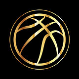 Golden Basketball Icon