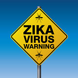 Yellow Zika Virus Warning Sign Illustration