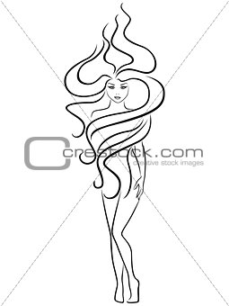 Abstract female with extraordinary hairstyle