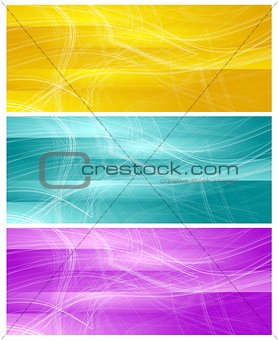 Bright banners with abstract chaotic wavy lines