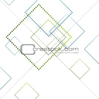 Abstract blue and green squares on white
