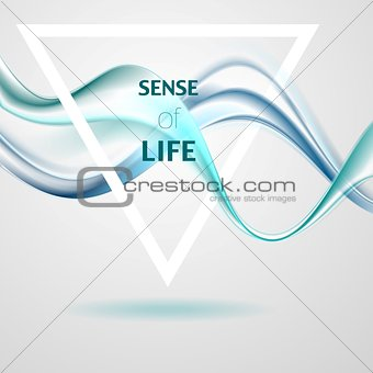 Abstract smooth bright blue waves and triangle quote frame
