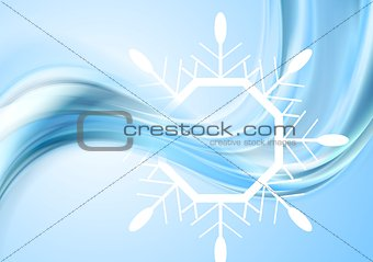Bright waves Christmas background with big snowflake