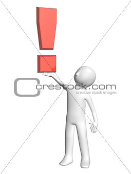 3d man with exclamation mark of red color