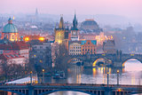 Top view bridges on the Vltava River in Prague