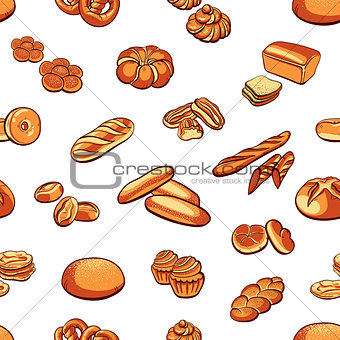 Bread And Buns Seamless Pattern