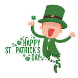 Leprechaun Holding a Four-Leaf Clover for St. Patrick's Day Card