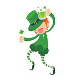 Happy Leprechaun Holding Clover and Green Beer.