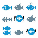 Fish, fish on plate, skeleton vector icons