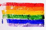 rainbow flag painted in a textured background