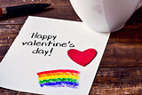 coffee and note with text happy valentines day
