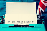 question do you speak english? written with a typewriter