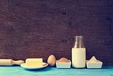 ingredients for preparing cookies or a cake, retro effect