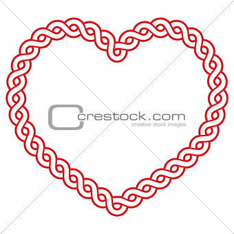 Celtic pattern red heart shape - love concept for St Patrick's Day, Valentines