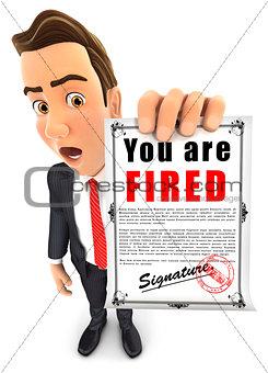3d businessman holding a dismissal notice