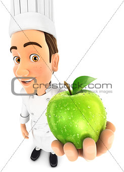 3d head holding fresh apple