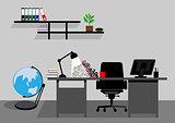 Creative office desktop workspace. Vector mock up