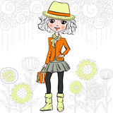 Vector fashion hipster girl