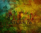 Atlanta City Skyline on Grunge Background Illustration