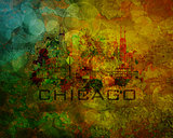 Chicago City Skyline on Grunge Background Illustration