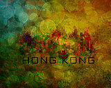 Hong Kong City Skyline on Grunge Background Illustration