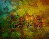 New York City Skyline on Grunge Background Illustration