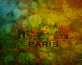 Paris City Skyline on Grunge Background Illustration