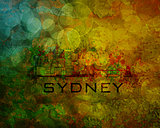 Sydney City Skyline on Grunge Background Illustration
